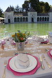 Lunch at Outdoor Terrace Pool, Table Setting Royalty Free Stock Photography