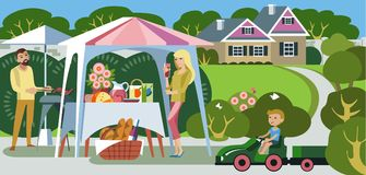 Picnic in the country house Royalty Free Stock Photos