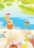 Lunch på stranden royaltyfri illustrationer