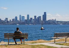 Lunch in the Park. Walking path on Alki Beach Royalty Free Stock Image