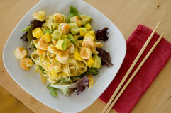 Lunch pasta with chopsticks royalty free stock photo
