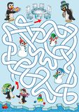 Lunch at penguins. Penguin kids are trying to find a path back to home where parents are waiting with lunch. Labyrinth for kids. Variant with zigzag labyrinth Stock Photos