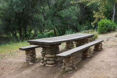 Lunch Picnic Table Area Stock Photo