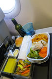 Lunch in a plane. Transportation catering service Royalty Free Stock Photos