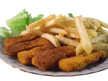 Lunch on a plate. Isolated plate  with chips and fish sticks Royalty Free Stock Images