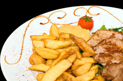 Lunch (pork and potato) Royalty Free Stock Images