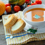 Lunch with pumpkin soup Royalty Free Stock Photo