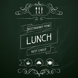 Lunch on the restaurant menu chalkboard Royalty Free Stock Photography
