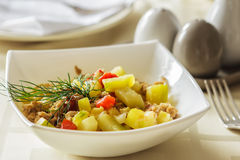 Lunch at restaurant. Vegetable stew with meat. Royalty Free Stock Photos