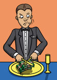 Lunch of the rich man. Illustration an aristocracy businessman. He is eating bundles of money vector illustration