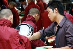 Daily lunch ritual in Amarapura Monastry, Myanmar Royalty Free Stock Photos