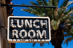 Lunch Room Sign. At Kelso Depot in Mojave National Preserve, California royalty free stock images