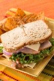 Lunch Sandwich Healthy Food Turkey Ham on Wheat Bread Stock Photos