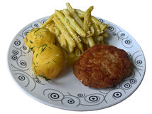 Lunch Schnitzel, Potatoes, Green Beans Isolated Stock Image