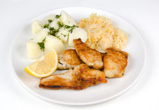 Lunch set with cod fish Royalty Free Stock Images