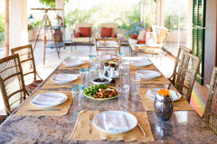 Before the lunch. Set the table before the lunch in veranda of the Spanish home, Mallorca Stock Photography