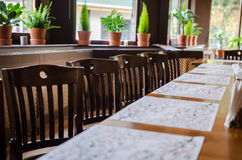 Lunch set-up table Royalty Free Stock Photos