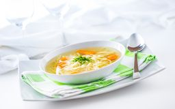 Free Lunch Setting Table With Chicken Or Beef Soup With Noodles Carrot And Herbs Stock Image - 117061551