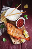 Lunch of smoked sea bass Royalty Free Stock Photo
