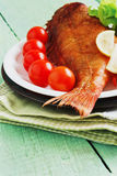 Lunch of smoked sea bass Royalty Free Stock Images