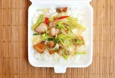 Lunch styrofoam box from fast food restaurant Stock Photo