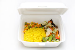Lunch styrofoam box. From fast food restaurant on white background stock photo