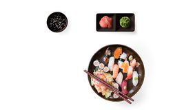 Lunch with sushi dish isolated on white background royalty free stock image