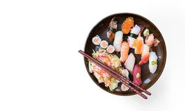 Lunch with sushi dish isolated on white background royalty free stock photos