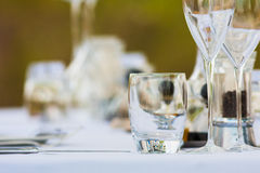 Lunch Table Setting. Close up of a empty glass on a lunch setting Stock Images