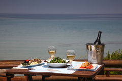 Lunch on a table for two at restaurant. Lunch on a table for two  at restaurant by the sea Stock Photo