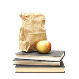 Lunch and Textbooks Stock Photo