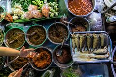 Lunch from Thai street vendor stock images