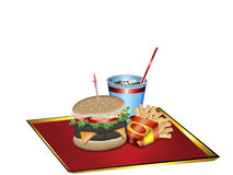 Lunch time. Vector art of a lunch platter with hamburger, fries and soft drink Stock Photo