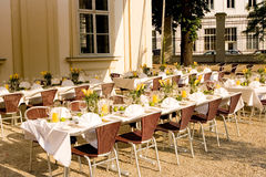 Lunch time. Nice place arranged for lunch time outdoors in the middle of the city Royalty Free Stock Photography