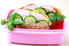 Lunch time. Box with delicious sandwich and some fruits - food and drink Stock Photo