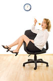 Lunch-time. Young beautiful businesswoman is in lunch-time - isolated Stock Images