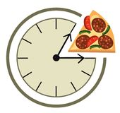 Lunch time. Clock showing a lunch break Stock Photography