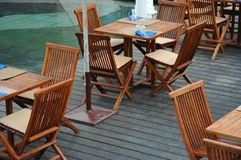 Lunch time. Terrace with tables prepared for lunch Stock Image