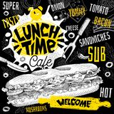 Lunch time cafe restaurant menu. Vector sub sandwiches fast food flyer cards for bar cafe. stock illustration
