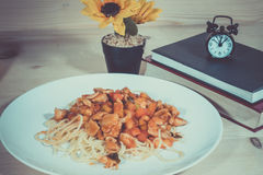 Lunch time Chicken Spaghetti. After reading the book. Lunch time Chicken Spaghetti Royalty Free Stock Images