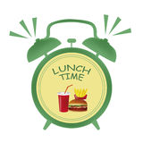 Lunch time clock Royalty Free Stock Photography