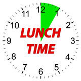 Lunch time clock. Royalty Free Stock Photography