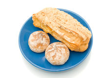 Lunch time - delicious pastry over white Stock Photos
