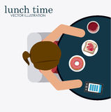 Lunch time desing  illustration. Royalty Free Stock Photos