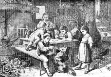 Lunch time in farmhouse, vintage print. Vintage print of lunch time in farmhouse: boy, girls and children eat together in the kitchen and feed a pet dog Royalty Free Stock Photography