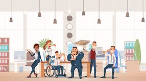 Lunch Time at Office. Vector Illustration. Lunch Time Concept. Coworkers having Break for Lunch with Pizza. Office Fun. Happy Workers in Workplace. People Work vector illustration