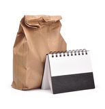 Lunch time - path. Lunch bag on white including path Stock Photo