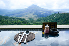 Lunch time at restaurant overlooking the Kintamani. Bali, Indonesia Stock Image