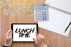 LUNCH TIME time for lunch words ,BUSINESSMAN WORKING AND LUNCH T Stock Images