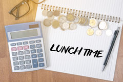 LUNCH TIME time for lunch words ,BUSINESSMAN WORKING AND LUNCH T Royalty Free Stock Photos